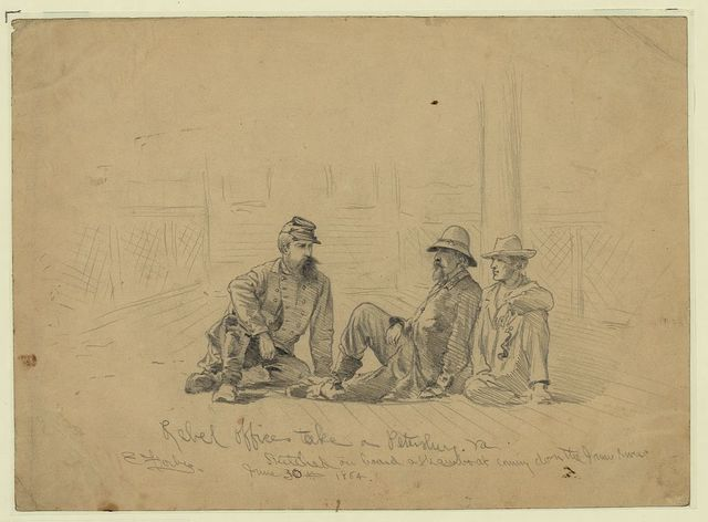 Rebel officers take[n] a[t] Petersburg, Va. - sketched on board a steamboat coming down the James River / E. Forbes.