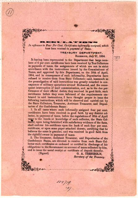 Regulations in reference to four per cent certificates informally assigned, which have been received in payment of taxes. Richmond, July 27, 1864.