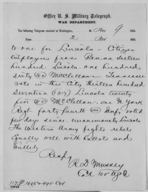 Reuben D. Mussey to Edwin M. Stanton, Tuesday, November 08, 1864  (Telegram reporting soldier vote in Tennessee)