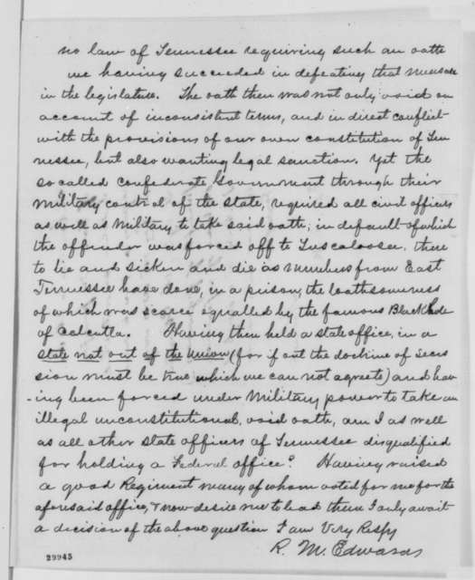 Richard M. Edwards to Edwin M. Stanton, Friday, January 29, 1864  (Protests loyalty oath; endorsed by Abraham Lincoln, February 5, 1864)