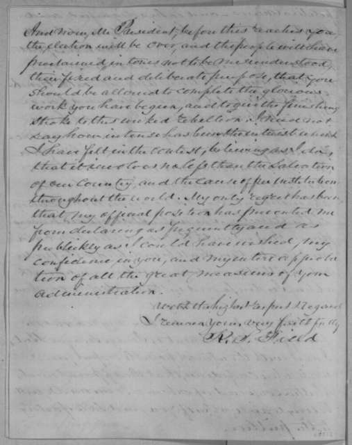 Richard S. Field to Abraham Lincoln, Saturday, November 05, 1864  (Recommends Swayne for Chief Justice)