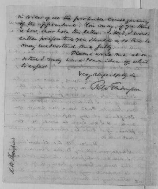 Richard W. Thompson to John P. Usher, Saturday, November 26, 1864  (Indiana judicial appointment)
