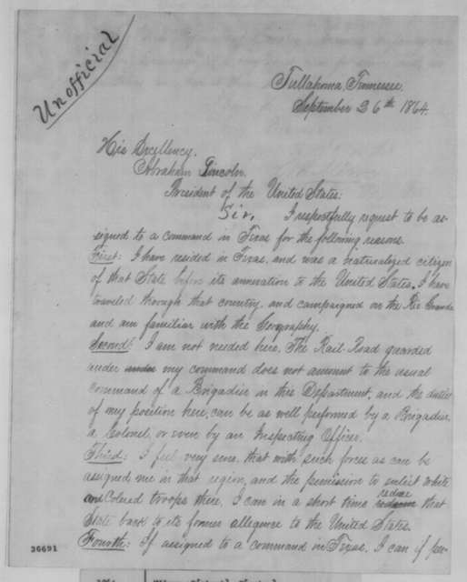 Robert H. Milroy to Abraham Lincoln, Monday, September 26, 1864  (Requests command in Texas)