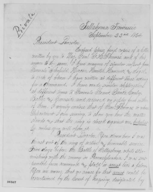 Robert H. Milroy to Abraham Lincoln, Thursday, September 22, 1864  (Seeks command)