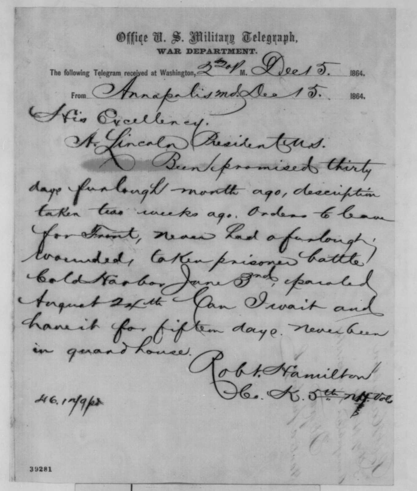 Robert Hamilton to Abraham Lincoln, Thursday, December 15, 1864  (Telegram requesting furlough)