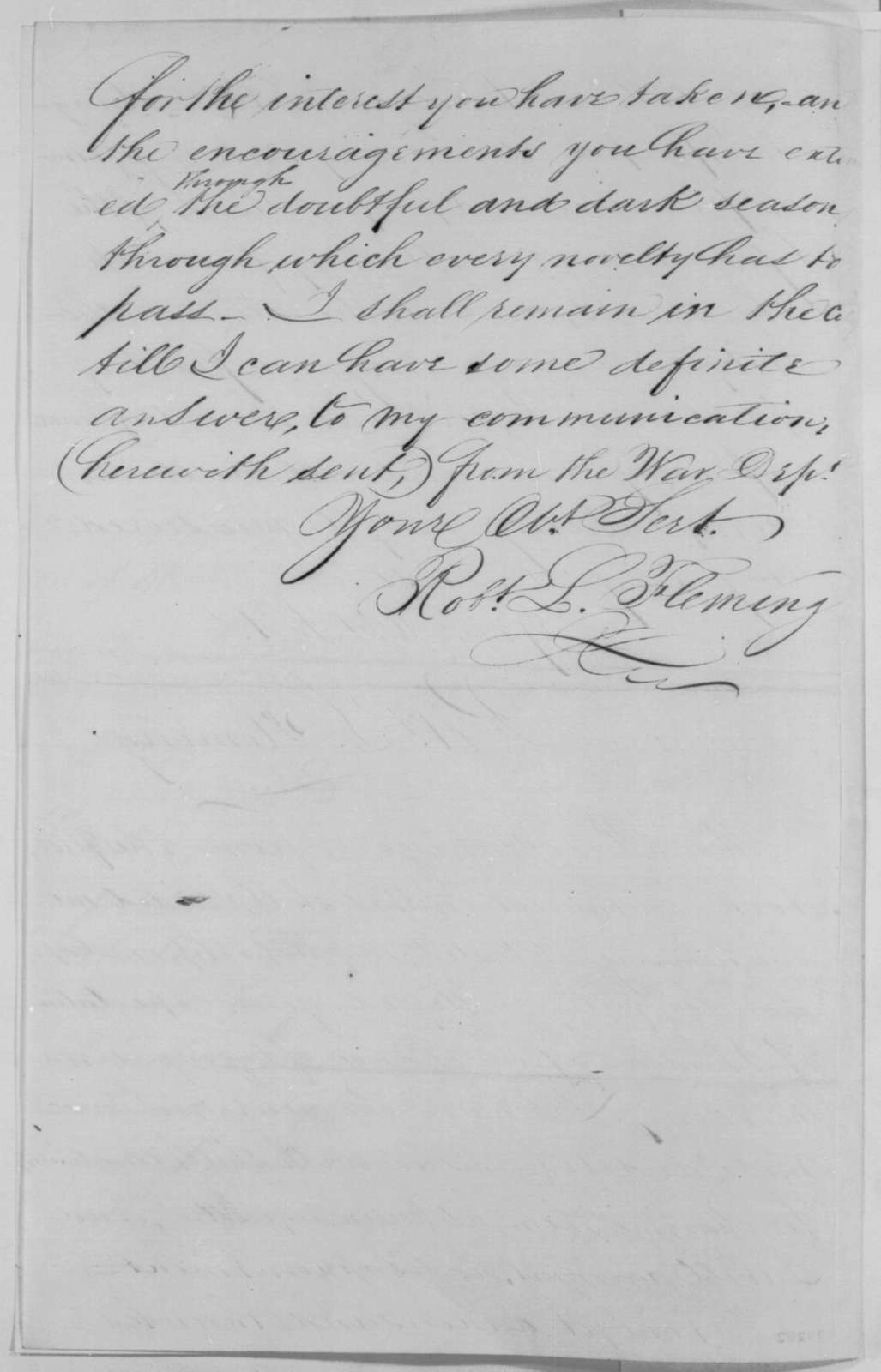Robert L. Fleming to Abraham Lincoln, Monday, February 08, 1864  (Fleming's incendiary shells)