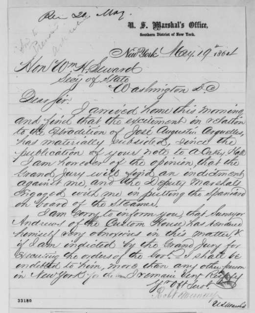 Robert Murray to William H. Seward, Thursday, May 19, 1864  (Case of Jose A. Arguelles)