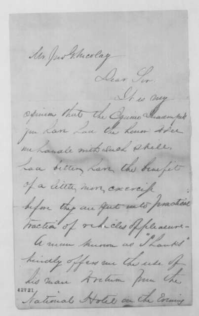 Robert Todd Lincoln to John G. Nicolay, Thursday, February 11, 1864  (Horses)