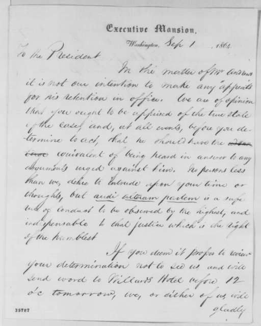 Rufus F. Andrews and Richard Busteed to Abraham Lincoln, Thursday, September 01, 1864  (Resignation of Andrews)