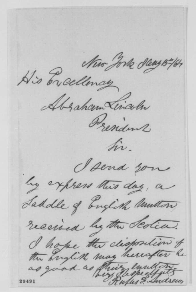 Rufus F. Andrews to Abraham Lincoln, Friday, January 15, 1864  (Sends English mutton)