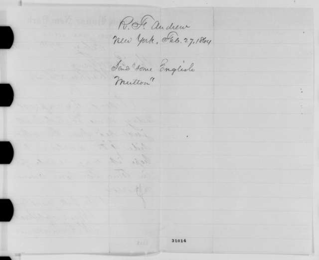 Rufus F. Andrews to Abraham Lincoln, Saturday, February 27, 1864  (Sends mutton)
