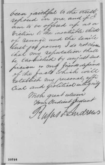 Rufus F. Andrews to John G. Nicolay, Wednesday, August 31, 1864  (Resignation)