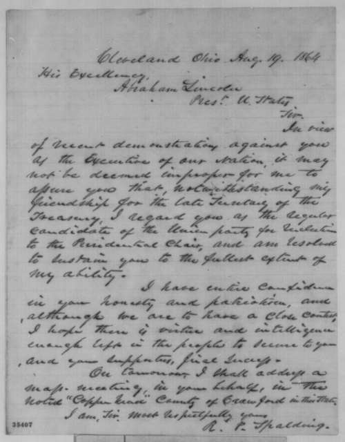 Rufus P. Spalding to Abraham Lincoln, Friday, August 19, 1864  (Support)