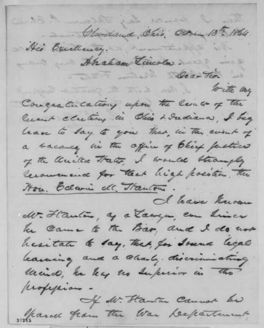 Rufus P. Spalding to Abraham Lincoln, Thursday, October 13, 1864  (Recommends Stanton for Chief Justice)