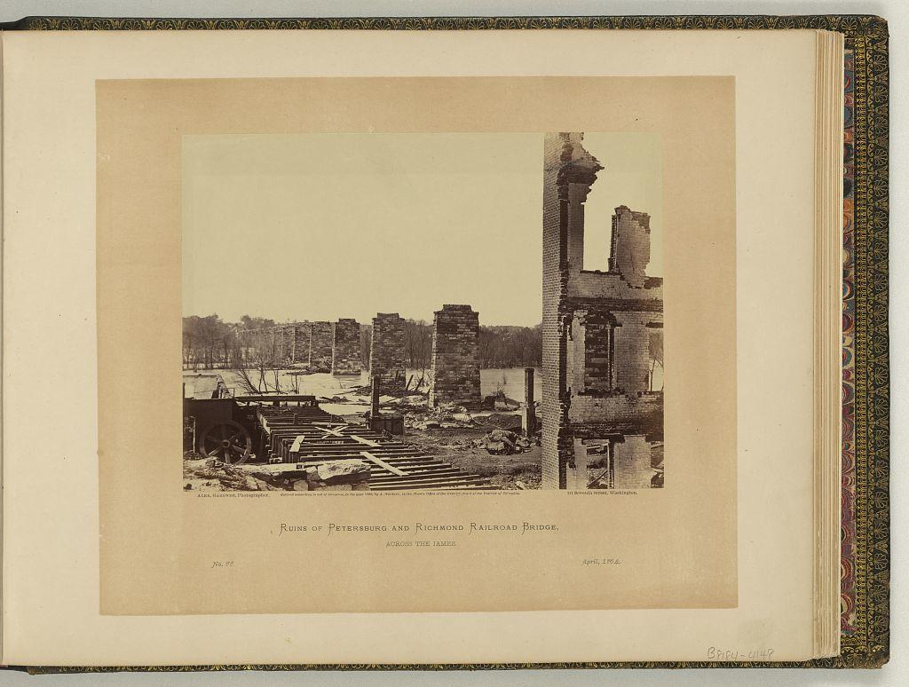 Ruins of Petersburg and Richmond railroad bridge, across the James