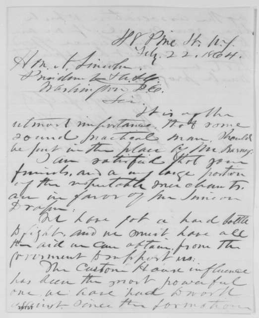 Rush C. Hawkins to Abraham Lincoln, Monday, February 22, 1864  (New York customs house)