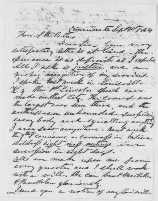 S. F. Carey to Solomon Newton Pettis, Thursday, September 01, 1864  (Carey's campaign efforts on behalf of Lincoln)