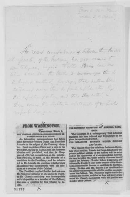 Salmon P. Chase, March 2, 1864  (Memorandum on Pomeroy Circular)