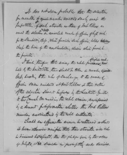 Salmon P. Chase to Abraham Lincoln, Friday, May 06, 1864  (Opinion on Fort Pillow massacre)