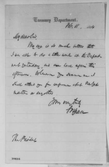 Salmon P. Chase to Abraham Lincoln, Thursday, February 18, 1864  (Chase's health)