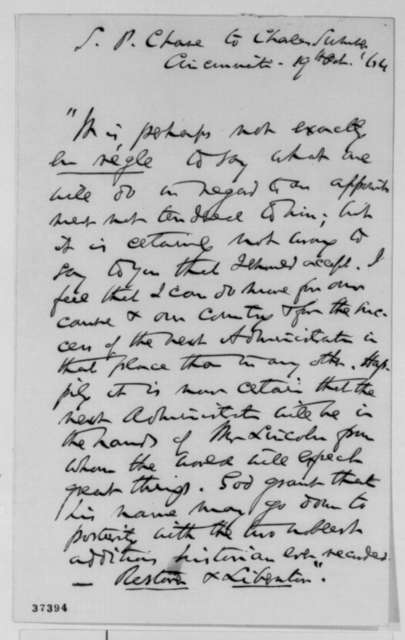 Salmon P. Chase to Charles Sumner, Wednesday, October 19, 1864  (Supreme Court appointment)
