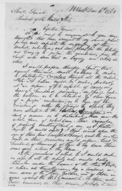 Samuel B. Smith to Abraham Lincoln, Tuesday, December 06, 1864  (Advice on how to end war)