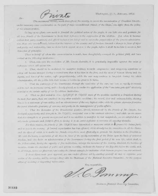 Samuel C. Pomeroy, February 1864  (Printed Circular Letter)