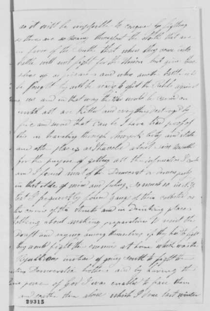 Samuel Cornell to Abraham Lincoln, Saturday, January 09, 1864  (Plan to end war; endorsed by Lincoln)