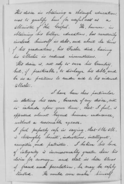 Samuel D. Lockwood to Abraham Lincoln, Wednesday, February 10, 1864  (Recommendation)