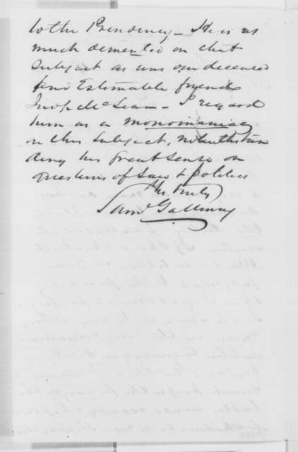 Samuel Galloway to Abraham Lincoln, Tuesday, November 15, 1864  (Recommends Swayne for Chief Justice)