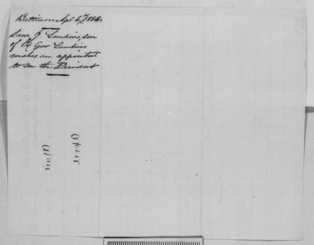 Samuel J. Lumkins to Abraham Lincoln, Wednesday, April 06, 1864  (Telegram requesting interview)