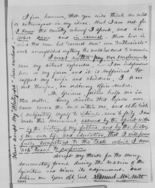 Samuel McNutt to James W. Grimes, Tuesday, June 28, 1864  (Wants Grimes to give Lincoln a letter)