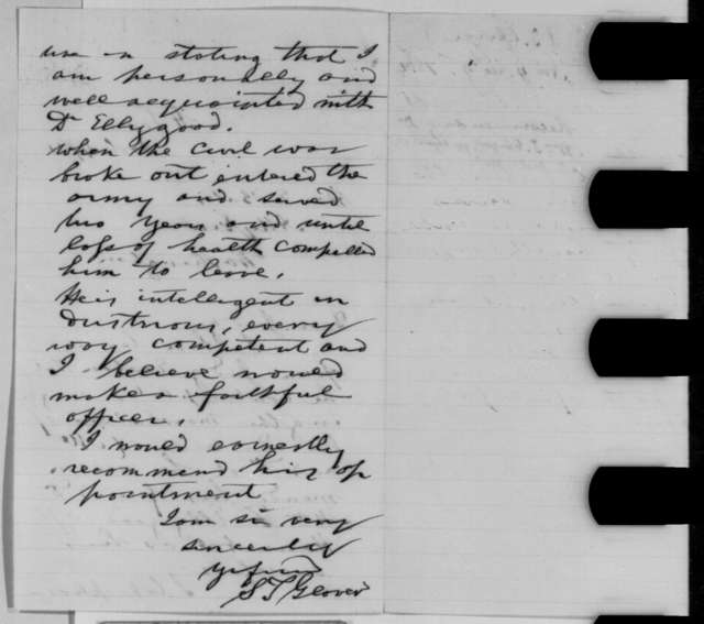 Samuel T. Glover to Edward Bates, Friday, November 04, 1864  (Recommendation)