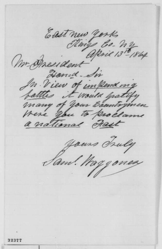 Samuel Waggoner to Abraham Lincoln, Wednesday, April 13, 1864  (Recommends national fast day)
