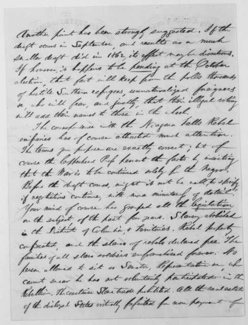 Schuyler Colfax to Abraham Lincoln, Monday, July 25, 1864  (Political affairs in Indiana)