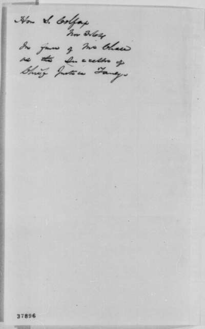 Schuyler Colfax to Abraham Lincoln, Thursday, November 03, 1864  (Recommends Chase for Chief Justice)
