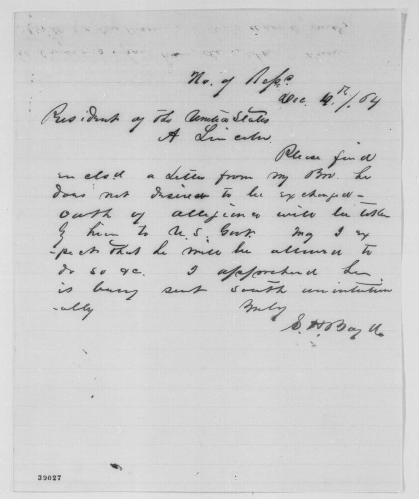 Sempronius H. Boyd to Abraham Lincoln, Sunday, December 04, 1864  (Cover letter)