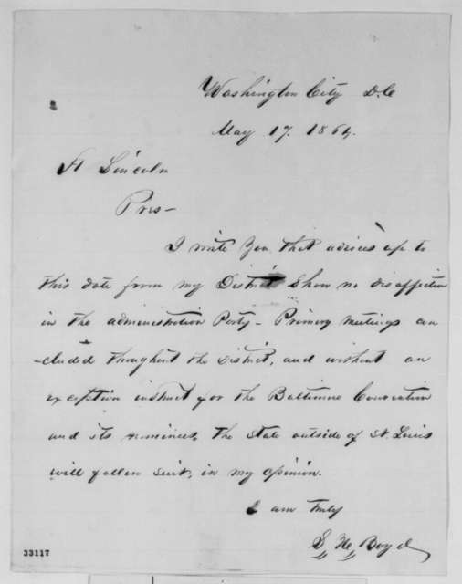 Sempronius H. Boyd to Abraham Lincoln, Tuesday, May 17, 1864  (Baltimore Convention)