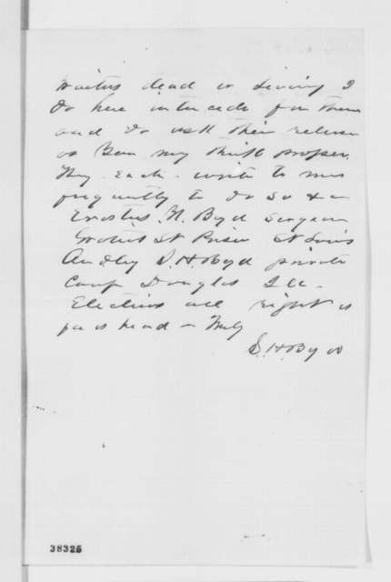 Sempronius H. Boyd to Abraham Lincoln, Tuesday, November 15, 1864  (Seeks release of his brothers)
