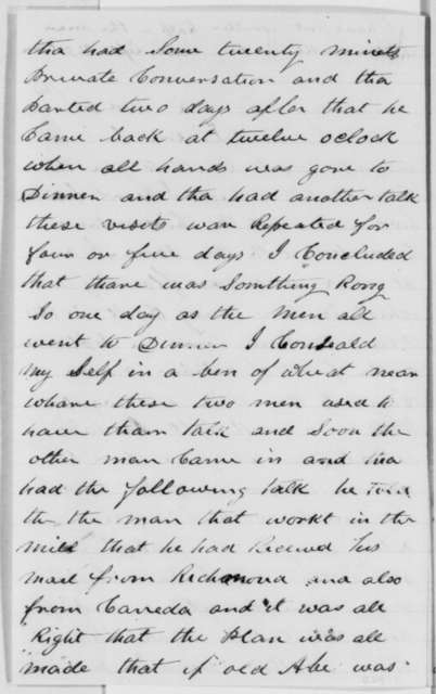 Seymour Ketchum to Abraham Lincoln, Wednesday, November 02, 1864  (Warns of plot to assassinate Lincoln)