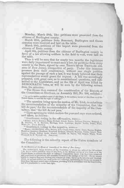 Shall the soldiers vote? ... These simple extracts from the minutes of the Legislature must show every honest inquirer to which party he must look for the real friends of the soldier. Mercer. [1864].