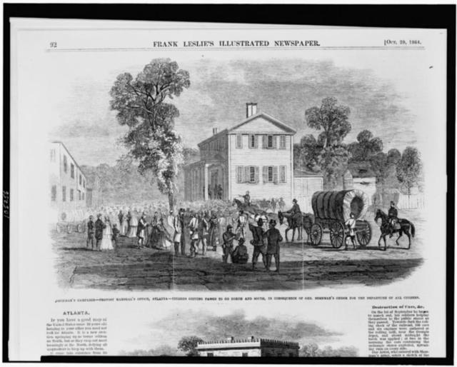 Sherman's campaign--provost marshal's office, Atlanta--citizens getting passes to go north and south, in consequence of Gen. Sherman's order for the departure of all citizens