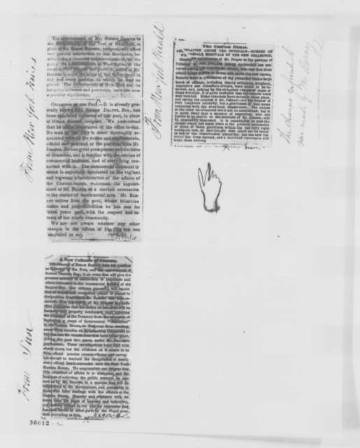 Simeon Draper to William P. Dole, Wednesday, September 07, 1864  (Sends clippings)