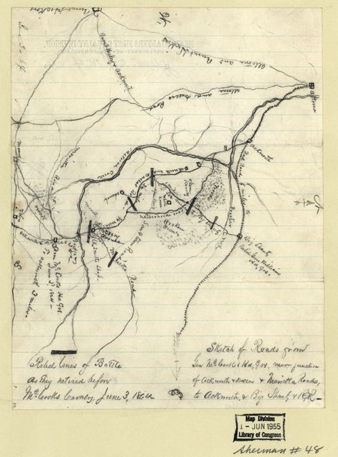 Sketch of roads from Gen. McCooks Hd. Qrs. near junction of Ackworth & Dallas & Marietta roads, to Ackworth & Big Shanty & R.R. : Rebel lines of battle as they retired before McCooks Cavalry, June 3, 1864.