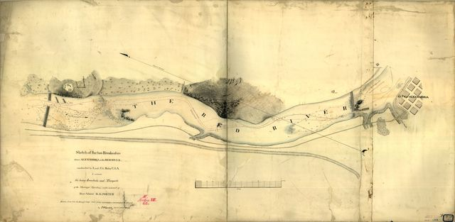 Sketch of the two breakwaters above Alexandria in the Red River,