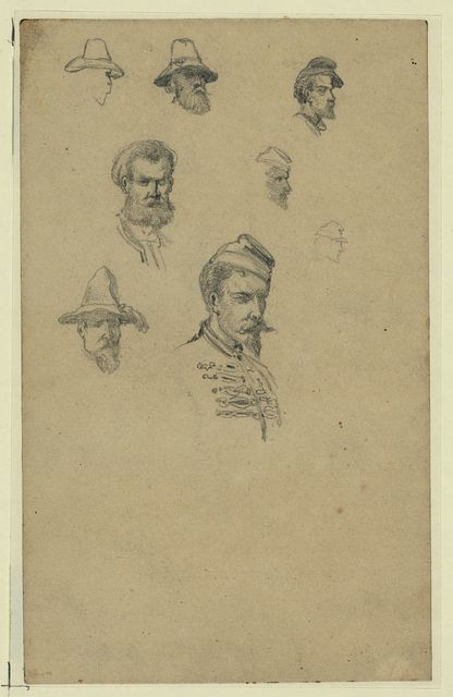 Sketches of characters on the roadside