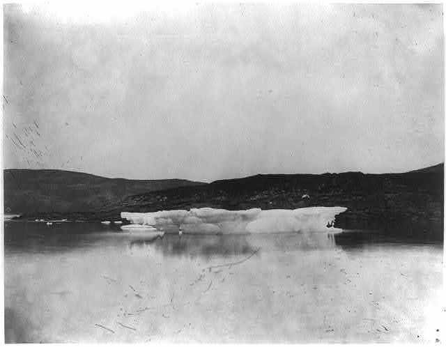 [Small iceberg or ice formation, possibly attached to shore, on the coast of Labrador]