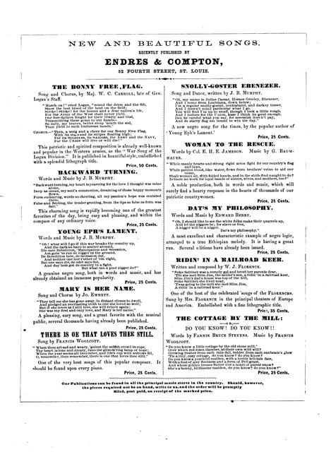 Snolly-goster Ebenezer: song and dance written by J.B. Murphy, author of Young Eph's lament, Charcoal philosophy, Bully nigger Amos; and sung with immense success by J.W. Smith and others at the principal concert halls and theatres.