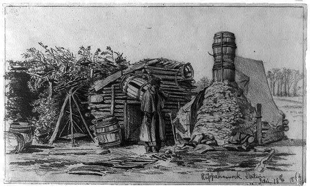 Soldier's hut in winter--Borrowing a chimney