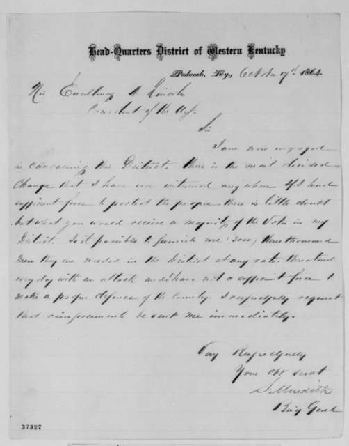 Solomon Meredith to Abraham Lincoln, Monday, October 17, 1864  (Affairs in Kentucky)